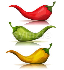 Cartoon Red, Green And Yellow Hot Chili Pepper Stock Vector