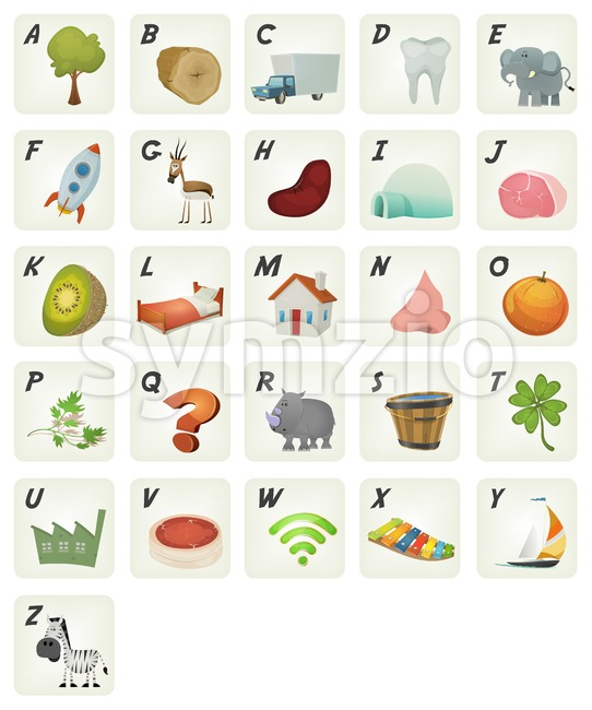 Cartoon French ABC Cliparts Poster Stock Vector
