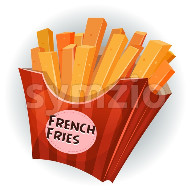French Fries Inside Box Stock Vector