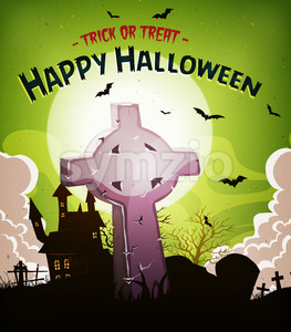 Halloween Holidays Background With Christian Tombstone Stock Vector