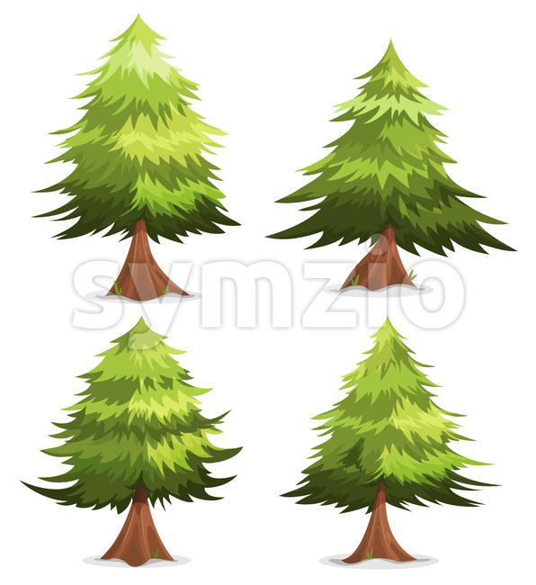 Pine Trees And Firs Set Stock Vector