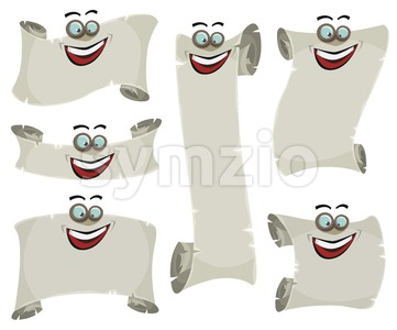 Parchment Scroll And Banners Characters Set Stock Vector
