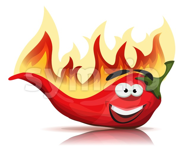 Red Hot Chili Pepper Character With Burning Flames Stock Vector