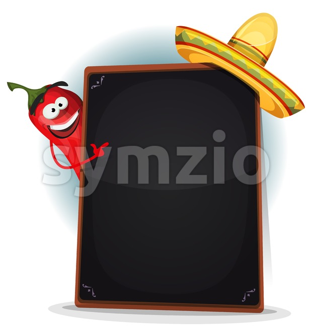 Tex Mex Menu With Chili Pepper And Sombrero Stock Vector