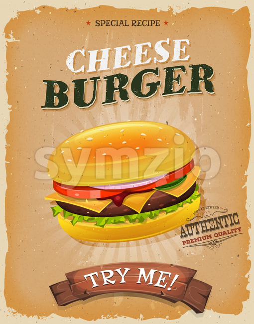 Grunge And Vintage Cheeseburger Poster Stock Vector