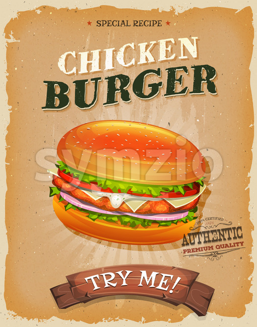 Grunge And Vintage Chicken Burger Poster Stock Vector
