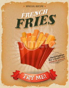 Grunge And Vintage French Fries Poster Stock Vector