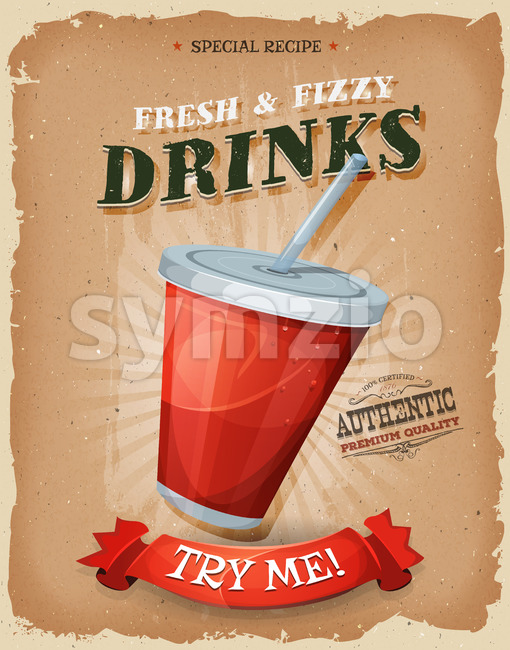Illustration of a design vintage and grunge textured poster, with plastic glass of fruit juice or soda, for fast food ...