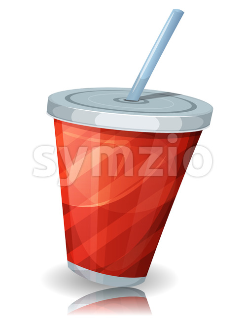 Fast Food Cup Of Soda With Straw Stock Vector