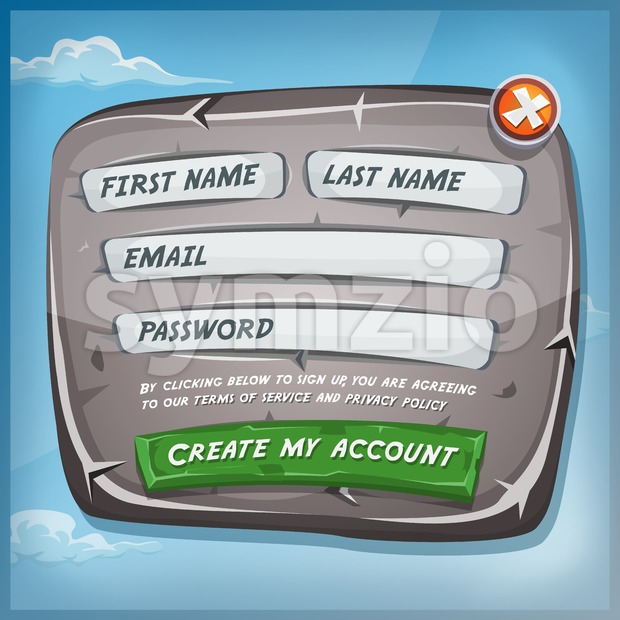 Login Form On Stone Panel For Ui Game Stock Vector