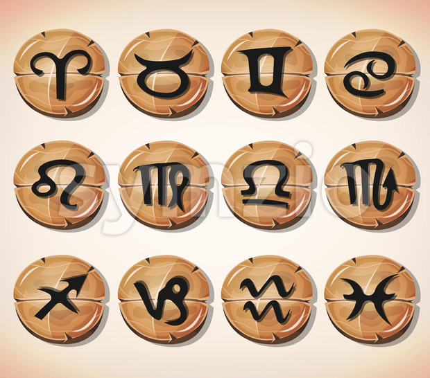 Illustration of a set of funny zodiac sign icons on cartoon wood buttons, for astrology, app or game ui on ...