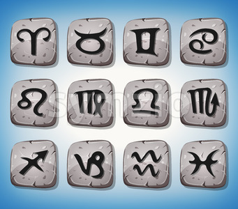 Zodiac Signs And Icons Set On Rocks Stock Vector