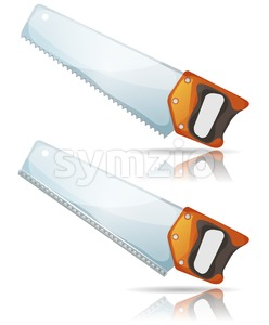 Hand Saw Tool With Steel Blade And Teeth Stock Vector