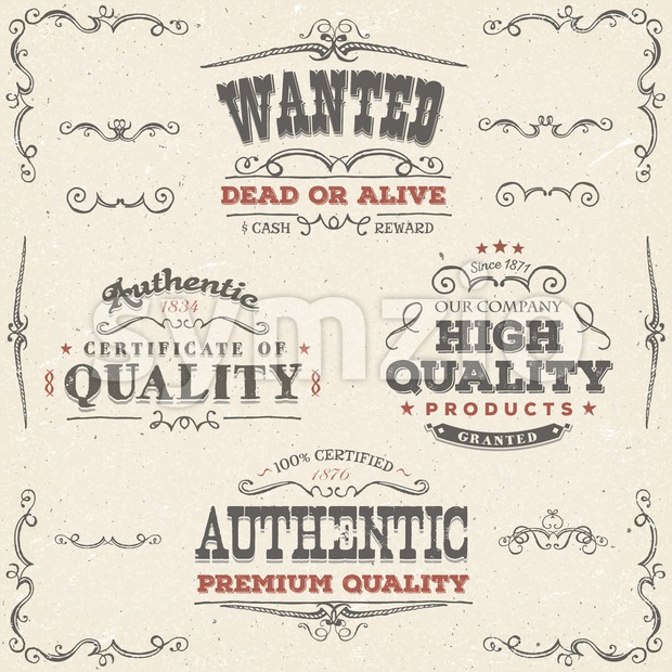 Hand Drawn Vintage Quality Banners And Labels Stock Vector