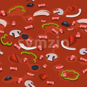 Seamless Italian Pizza Garnish Background Stock Photo
