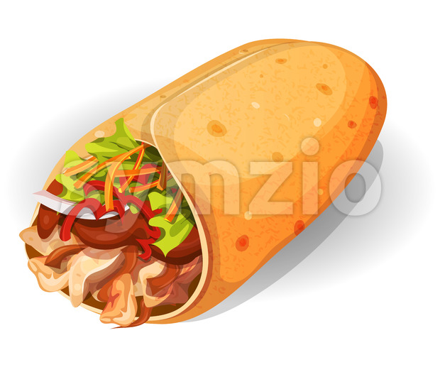 Mexican Burrito Icon Stock Vector