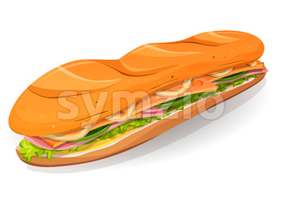 Classic Ham And Butter French Sandwich Icon Stock Vector