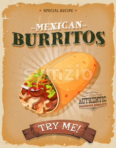 Grunge And Vintage Mexican Burritos Poster Stock Vector