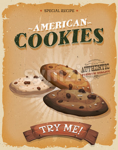 Grunge And Vintage American Cookies Poster Stock Vector