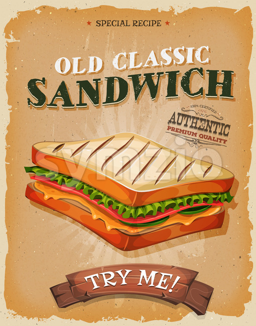 Grunge And Vintage Sandwich Poster Stock Vector