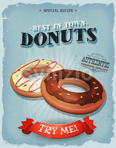 Grunge And Vintage American Donuts Poster Stock Vector