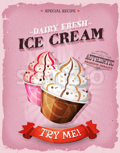 Grunge And Vintage Ice Cream Dessert Poster Stock Vector