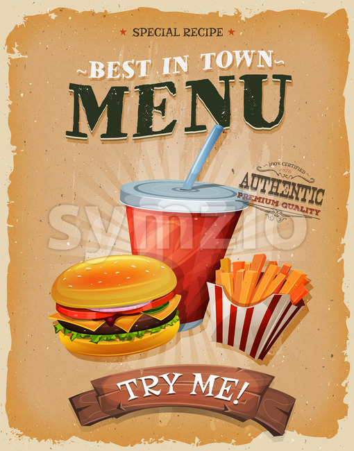 Grunge And Vintage Fast Food Menu Poster Stock Vector