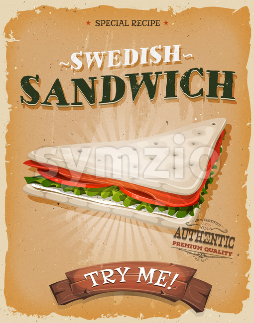 Grunge And Vintage Swedish Sandwich Poster Stock Vector