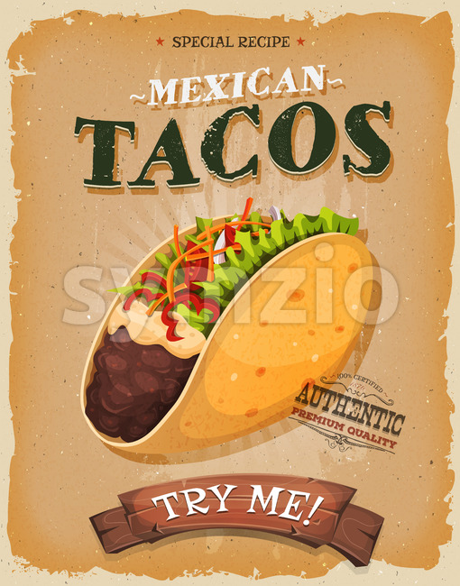 Grunge And Vintage Mexican Tacos Poster Stock Vector
