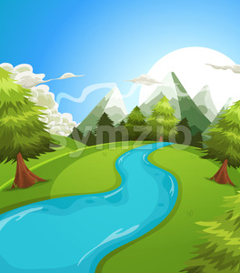 Cartoon Summer Mountains Landscape Stock Vector