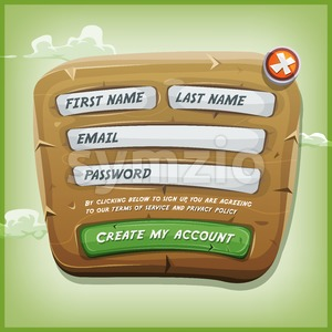 Login Form On Wood Panel For Ui Game Stock Vector