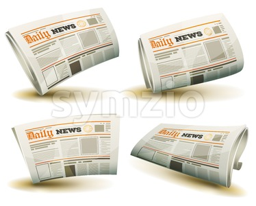 Newspaper Icons Set Stock Vector