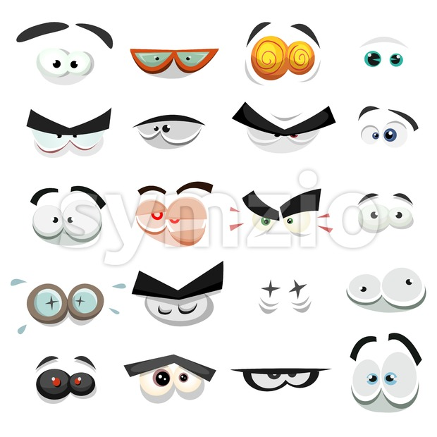 Comic Eyes Expression Set Stock Vector