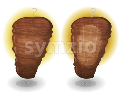 Doner Kebab Halal Meat Stock Vector