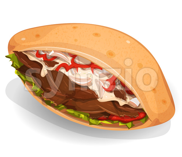 Kebab Sandwich Icon Stock Vector