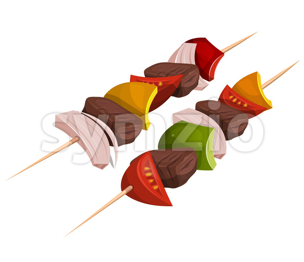 Kebab Skewers Icons Stock Vector