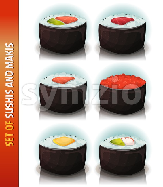 Asian Sushis And Makis Set Stock Vector