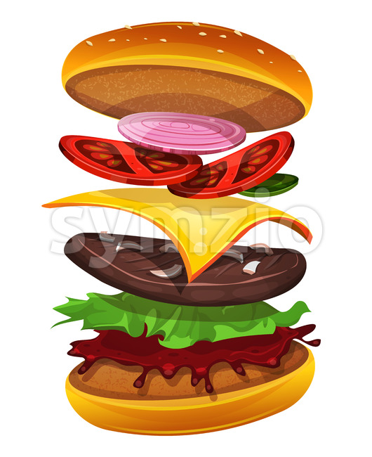 Fast Food Burger Icon With Ingredients Layers Stock Vector