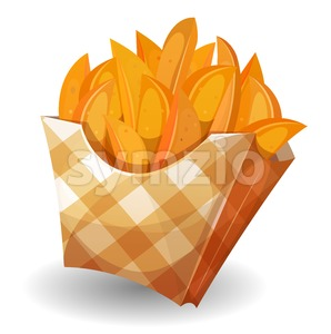 Wedge Potatoes In Box Stock Vector