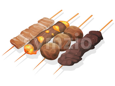 Asian Yakitoris Skewers Set Stock Vector