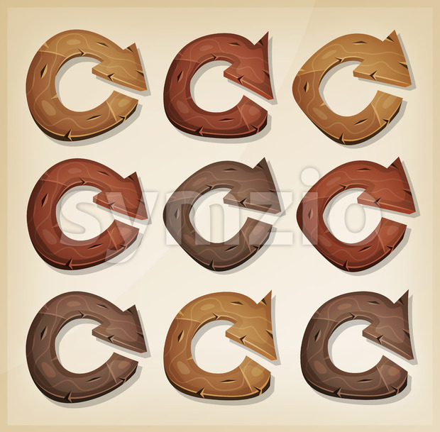 Illustration of a set of funny cartoon design wooden refresh function arrows icons, for app and ui game environment