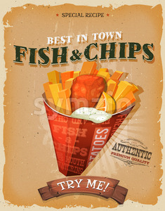 Grunge And Vintage Fish And Chips Poster Stock Vector