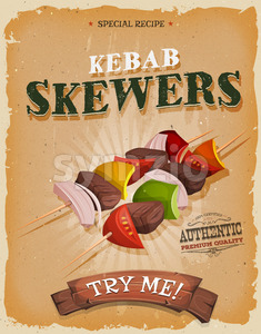 Grunge And Vintage Kebab Skewers Poster Stock Vector