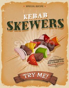 Grunge And Vintage Kebab Skewers Poster Stock Vector