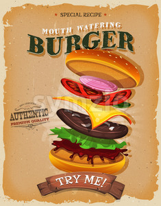 Grunge And Vintage Burger Ingredients Poster Stock Vector