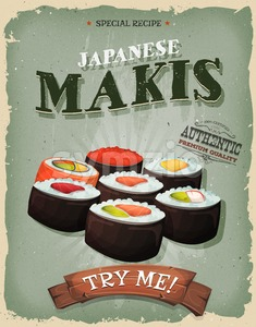 Grunge And Vintage Japanese Makis Poster Stock Vector