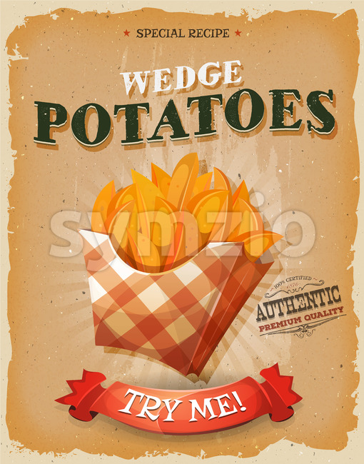 Grunge And Vintage Wedge Potatoes Poster Stock Vector