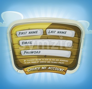 Login Form On Wood Panel For Game Ui Stock Photo