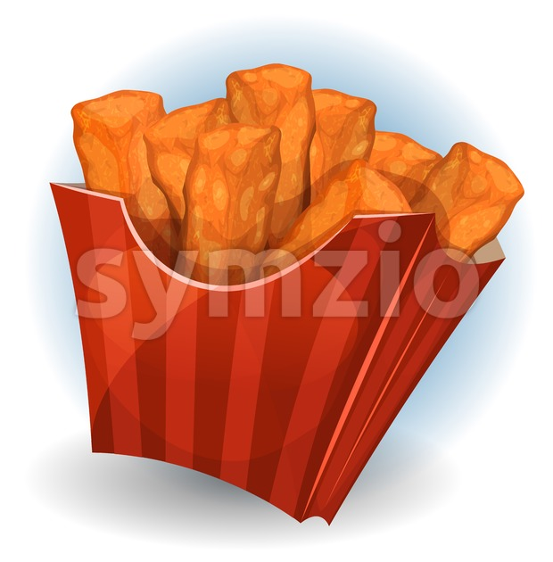 Chicken Dips Inside Red Package Stock Vector