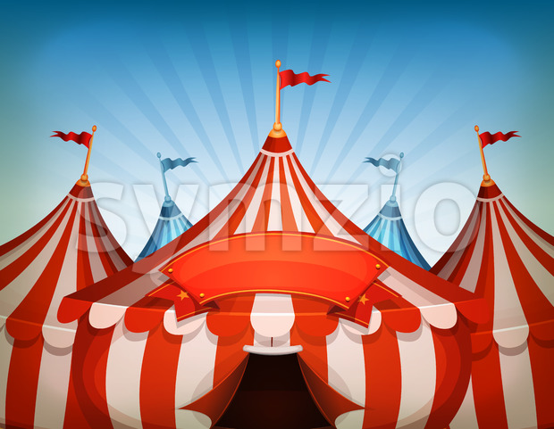 Big Top Circus Tents With Banner Stock Vector